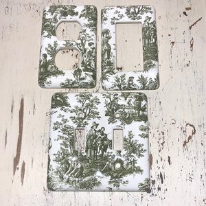 Set of 3 Toile Switch-plate Outlet Covers